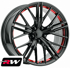 Chevy Camaro ZL1 OE Replica Gloss Black with Red under cut wheels