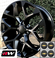 22 x9 inch Chevy Avalanche Factory Style Snowflake Wheels Satin Black Rims