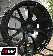 20 x9 inch Wheels for Dodge Challenger SRT Hellcat Satin Black Rims 5x115 +20