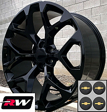 22 inch Chevy Avalanche Factory Style Snowflake Wheels Gloss Black Rims 22 x9