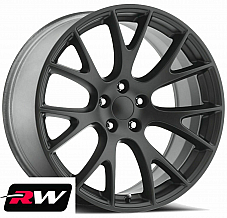 20 inch 20x9.5 Wheels for Dodge Challenger Satin Black SRT Hellcat Rims 5x115
