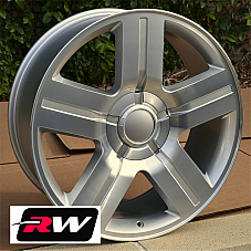 22 inch 22 x9 Wheels for Chevy Tahoe Silver Machined Texas Edition Rims