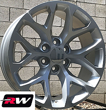 20 x9 inch Chevy Avalanche Factory Style Snowflake Wheels Silver Machined Rims